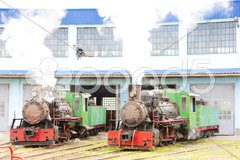 Steam locomotives in depot, Kostolac, Serbia Stock Photos