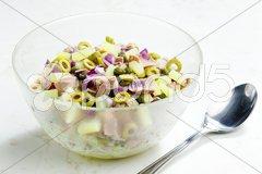 Mediterranean potato salad with tuna fish Stock Photos