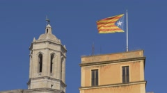 Catalan flag flapping in the wind in Girona, Costa Brava Stock Footage