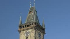 Tilt down the astronomical clock tower Prague Stock Footage