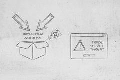 Confidential prototype & pop-up alert, trade secret threat Stock Illustration
