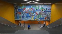 4K Bochum interior metro station arts NRW Germany Europe Stock Footage