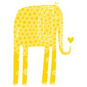 Vector hand drawn illustration with cote colorfull elephants Stock Illustration