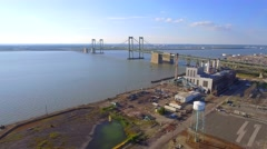Aerial drone video Pennsville Power Plant Stock Footage