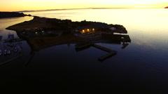 Semiahmoo Park, Blaine, Washington Night Sunset Aerial Stock Footage
