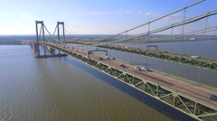 Aerial cars on the Delaware bridge Stock Footage