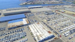 Aerial new cars at Port of Baltimore Stock Footage