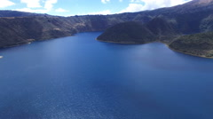 Volcanic Lake Cuicocha in the Andes and its Islands Stock Footage