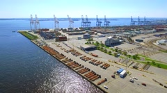 Aerial tour industrial port 4k Stock Footage