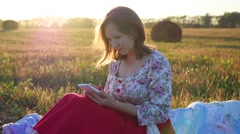 Girl watching something in the smartphone Stock Footage