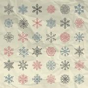 Vector Winter Snow Flakes Doodles on Crumpled Paper Stock Illustration