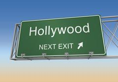 Hollywood road sign Stock Illustration