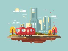 Retro tram design flat Stock Illustration