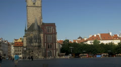 Pan across Old Town Square Prague Stock Footage