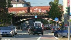 4K Urban city downtown traffic bottleneck congestion jam Bochum NRW Germany Stock Footage