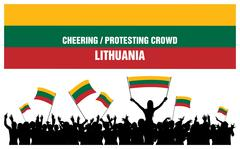 Cheering or Protesting Crowd Lithuania Stock Illustration