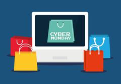 Shopping bag laptop and cyber monday design Stock Illustration
