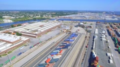 Drone footage Port of Baltimore cargo containers Stock Footage