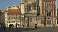 Tilt up the astronomical clock tower Prague Stock Footage