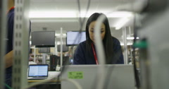 Team of workers in an electronics factory working on computer testing and repair Stock Footage