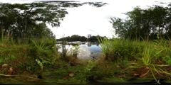 360 VR Low angle shot nature lake cloud reflections on water surface Stock Footage