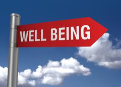 Well being road sign Stock Illustration