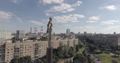 Aerial 4k footage of Yuri Gagarin monument  Stock Footage