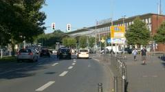 4K Urban city downtown traffic at Train Station Bochum NRW Germany Europe Stock Footage