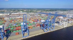 Aerial video Port of Baltimore cranes Stock Footage