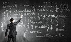 Man draw on chalkboard Stock Photos