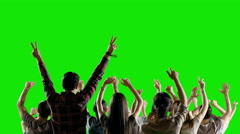 4K Crowd of fans dancing and partying on green screen. Slow motion. Stock Footage