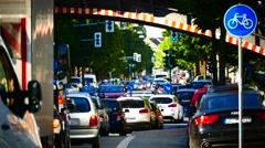 Urban city downtown traffic bottleneck congestion jam Bochum NRW Germany Stock Footage
