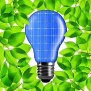 Eco light bulb from solar panel. Stock Photos