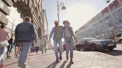 Russia, Saint-Petersburg 280916: Frontal view of a two of teen hipster friends Stock Footage