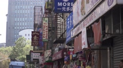 New York City, China Town, chinese signs, morning view Arkistovideo