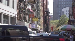 New York City, China Town, shops and signs, tourists, morning view Arkistovideo