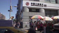 New York City, China Town, stalls and people, morning view Stock Footage