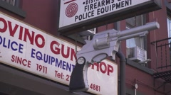New York City, Little Italy, guns shop, police shop, morning view Stock Footage