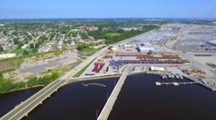 Port Baltimore aerial flyover Stock Footage