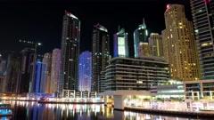 8K Dubai Marina night time lapse, United Arab Emirates Stock Footage