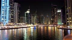 8K Dubai Marina night time lapse, United Arab Emirates Stock Footage
