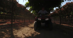 Drone flying under trellis ATV quad driving Stock Footage