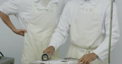 Portrait of cheerful workers in a seafood processing factory Stock Footage