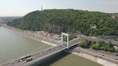 Aerial shot of Budapest - Elizabeth bridge and Gellert Hill, Hungary Stock Footage