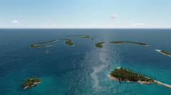 Aerial coastal view of Sub tropical Islands Stock Footage