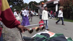 Man jingling bells for local parade Arkistovideo