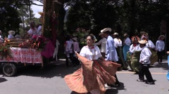 Panamanian women twirling their colorful skirts Stock Footage