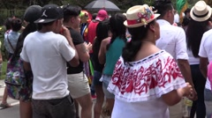 Panamanian crowd dancing in the streets Stock Footage
