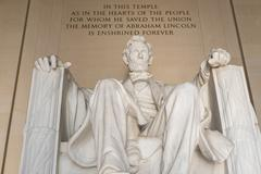 Statue of Abraham Lincoln at the Lincoln Memorial in Washington Stock Photos