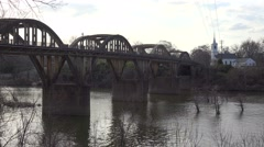The town of Wetumpka, Alabama with pretty bridge spanning the Coosa River. Stock Footage